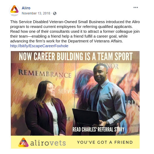 Facebook post to promote AliroVets customer story blog post