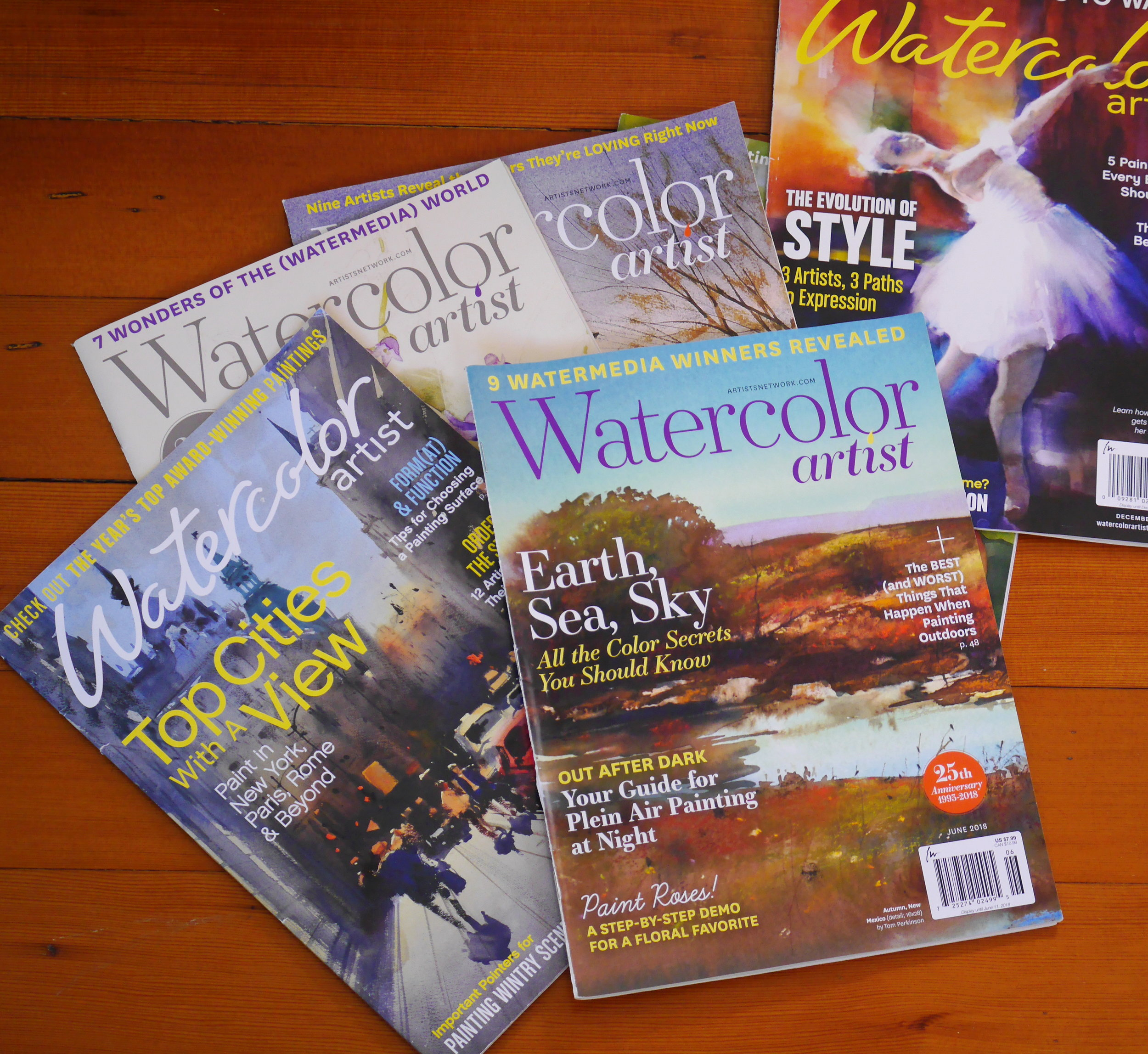 3. Watercolor artist magazine  - US based magazine  - 6 issues per year  - watercolor artist interview  - watercolor tips and tricks  - watercolor workshop schedule  - website: http://subscriptions.watercolorartistmagazine.com/