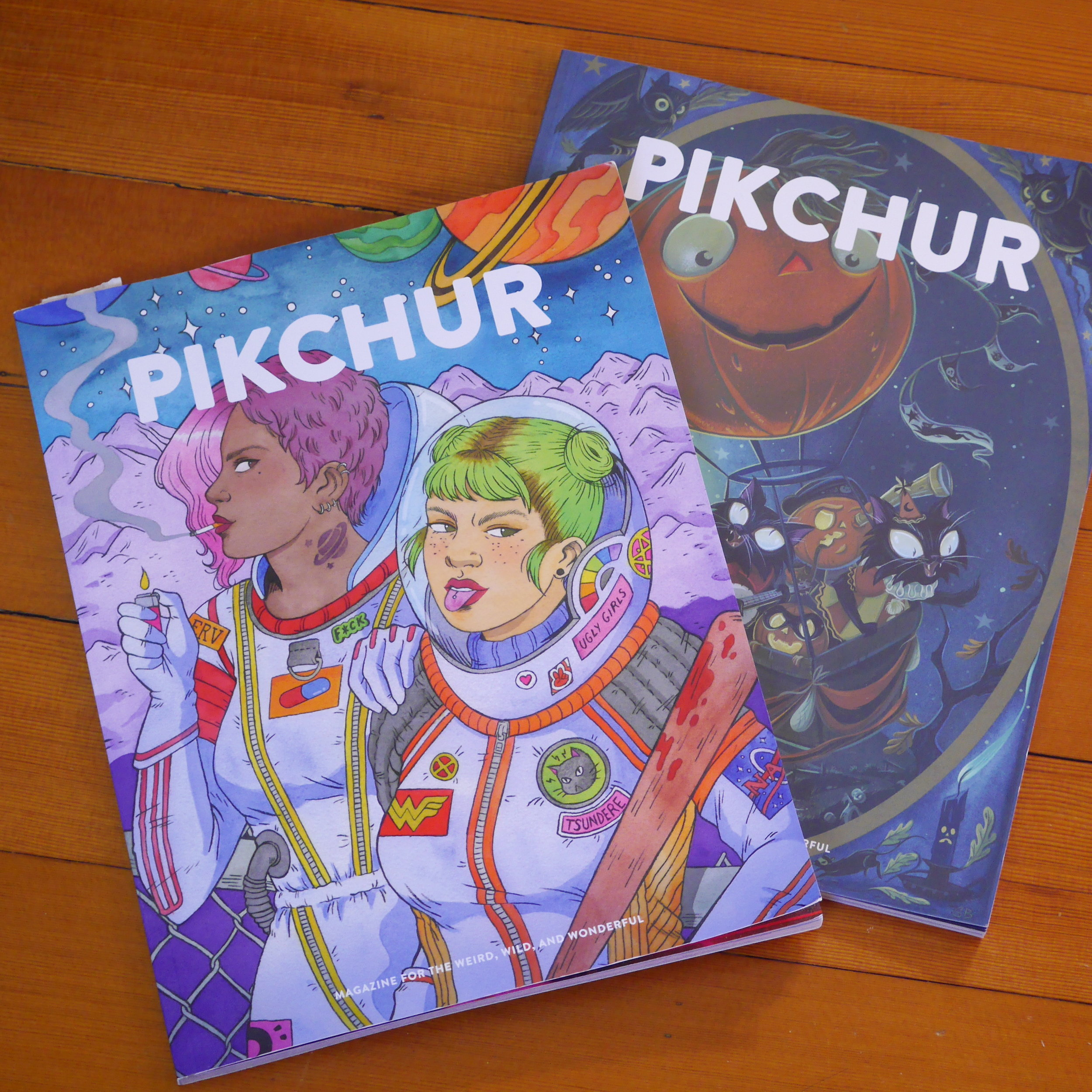 2. Pikchur magazine  - US based magazine  - 4 issues per year  - first published in 2018  - bizarre, strange, magical and weird art  - website: https://www.pikchurmag.com