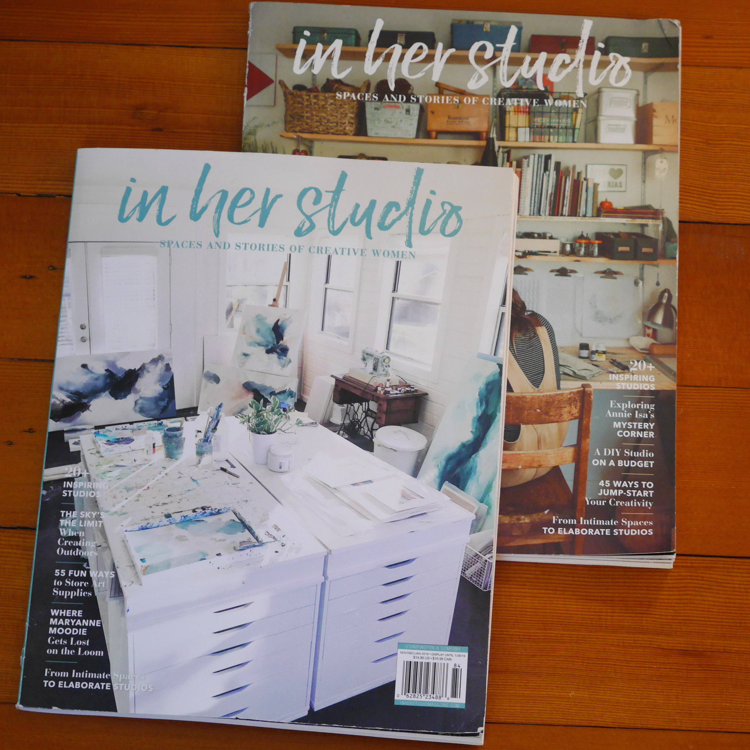 5. In her studio magazine  - US based magazine  - 4 issues per year  - first published in 2018  - Artists' working space  - website: https://stampington.com/in-her-studio