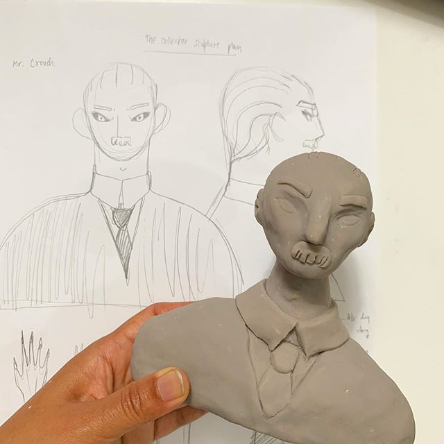 Sketch vs Sculpt!! I made some changes from sketching, added some cheek bones. I will sand him next week when my wrist feel better. I had TFCC pain (causing from screwing a pressure pot and sanding) and got steroid injection today. It supposes to help me with inflammatory. I am Looking forward to get my healthy wrist back. Girl has to screw that pressure pot man!!!! #toy #resintoy #toys #resintoys #arttoy #artdoll #toymaker #toydesign #toydesigner #designertoys #instaart #instatoys #instadoll #toycollector #clay #polymerclay