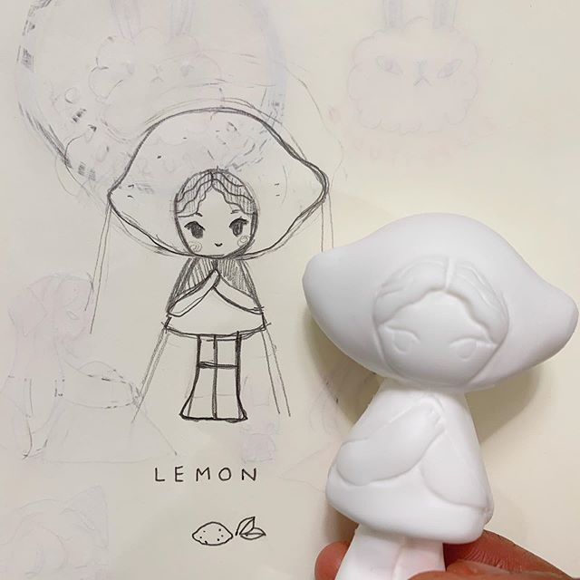 Sketch vs Cast!!! I am pretty happy with the result 🍋🍋🍋 #toy #resintoy #toys #resintoys #arttoy #artdoll #toymaker #toydesign #toydesigner #designertoys #instaart #instatoys #instadoll #toycollector #sketch