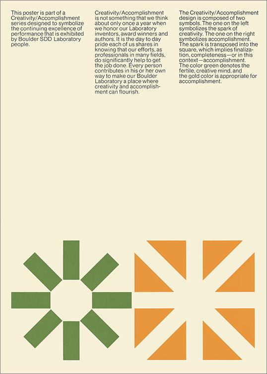 Creativity / Accomplishment: Boulder SDD Laboratory, 1970.