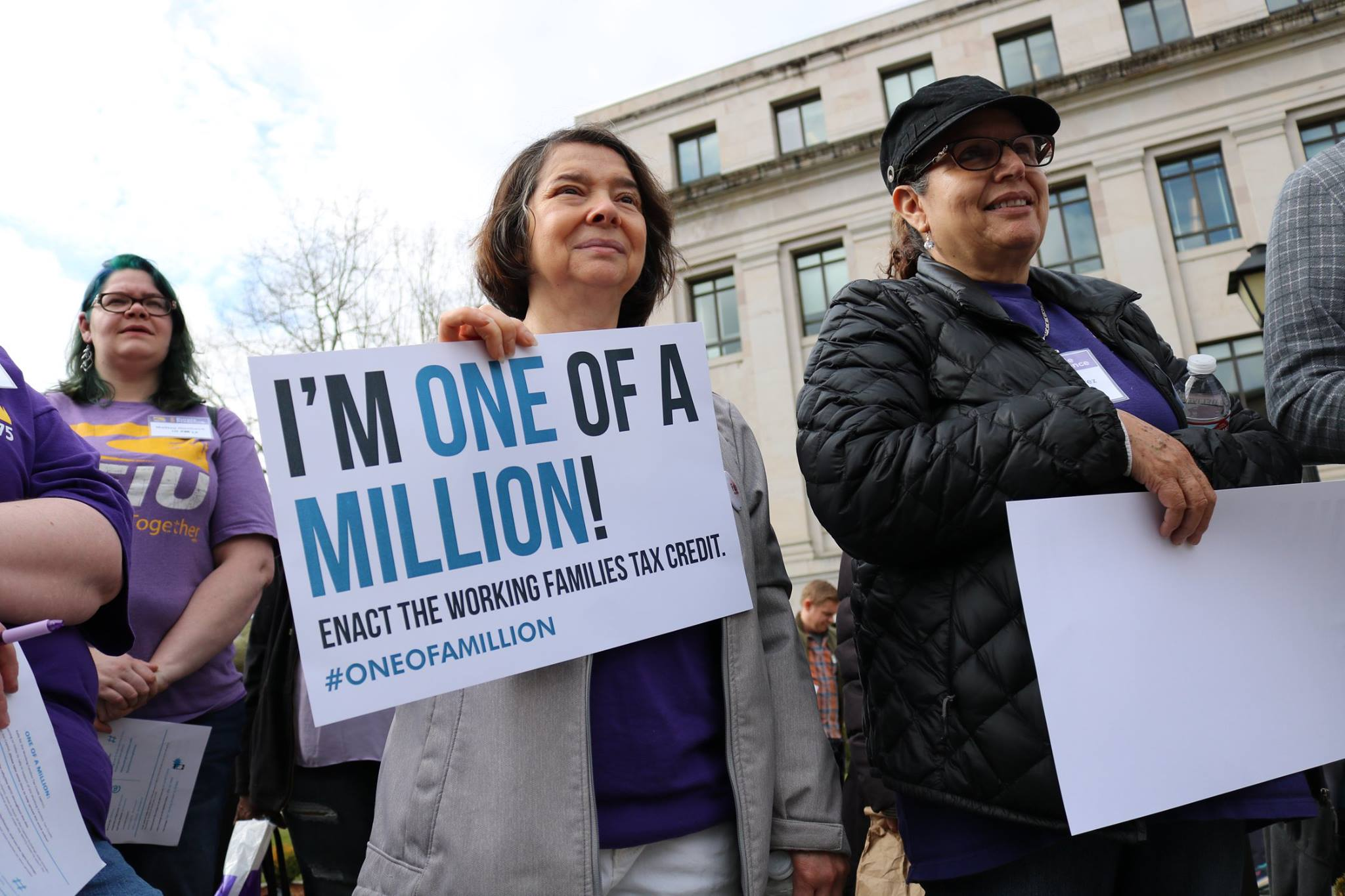 Community members at a rally for a Working Families Tax Credit (or Cost-of-Living Refund) in Washington State. (3/21/19)