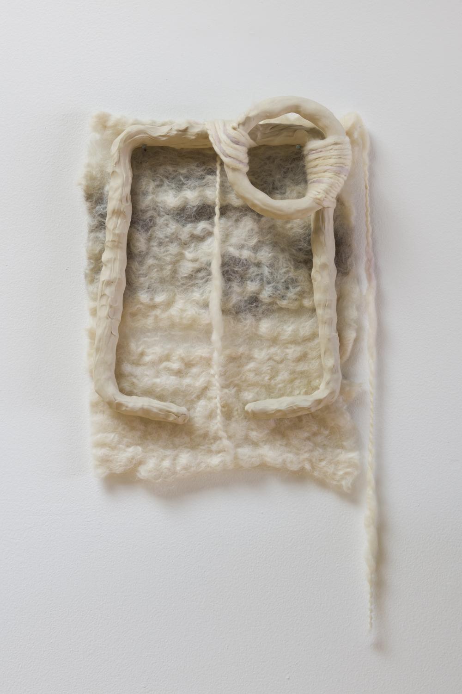 Ariel Herwitz  elements of joy ,2017 felted wool, hand-dyed yarn, porcelain, copper thread 20 x 10 x 2 in.