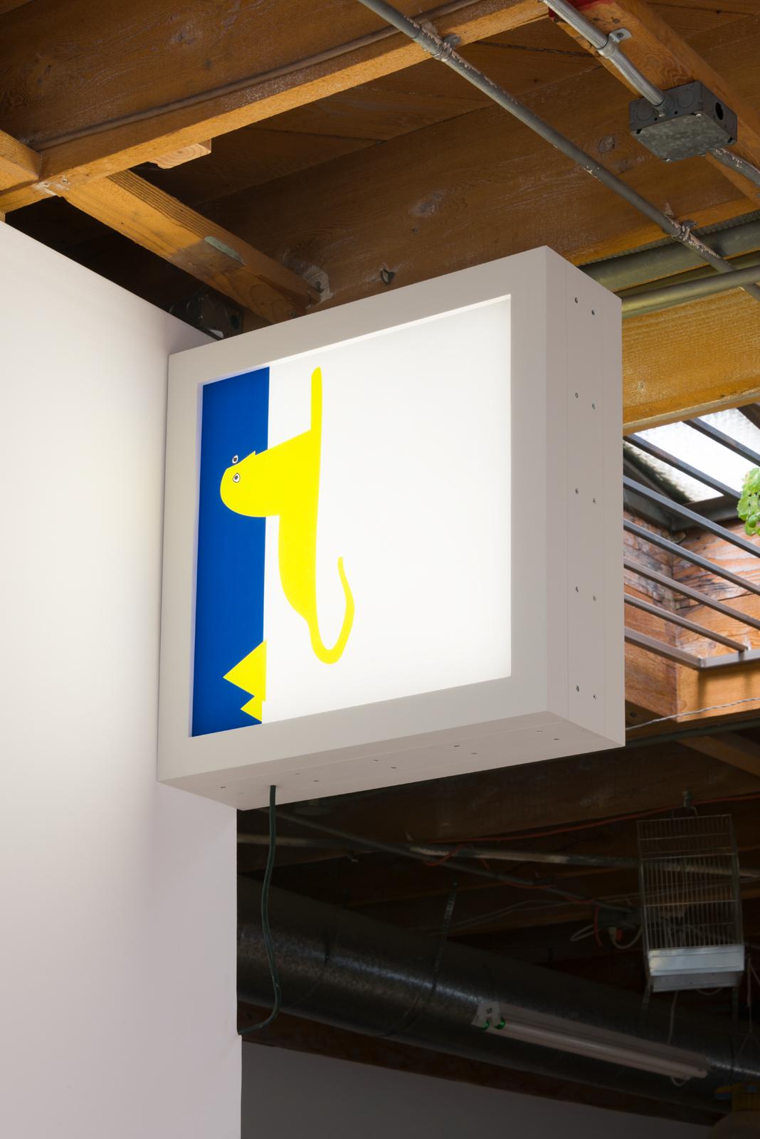 Ryan Fenchel  Aquemini / Leo Version, 2016 double sided electric light box (LED, acrylic paint, plexiglass, and wood) 26 x 26 x 9 in.