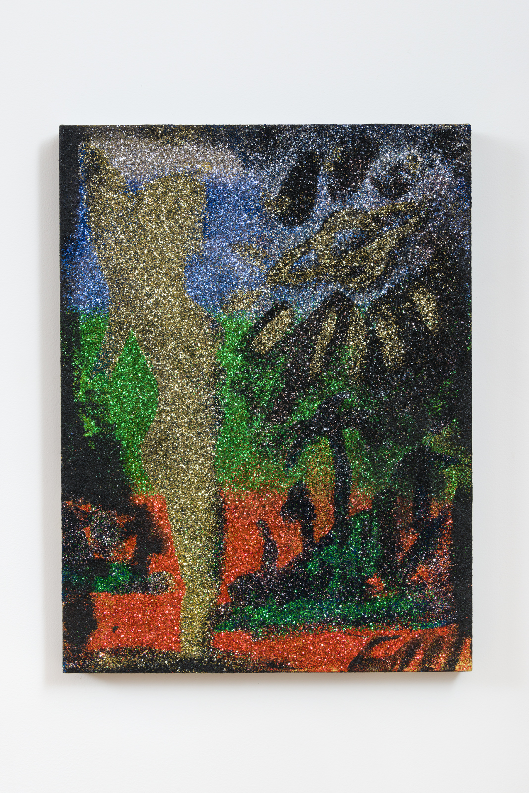 Chris Martin  Islands #2 , 2015 acrylic and glitter on canvas 24 x 18 x 2 in. Courtesy of David Kordansky Gallery, Los Angeles, CA