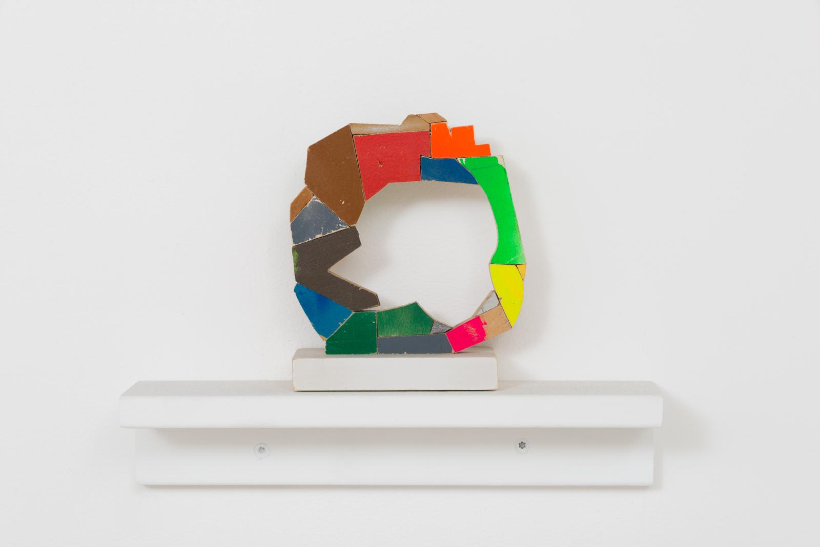Damien Hoar de Galvan  ring ,2016 wood, paint 6 x 5 x 3 in.