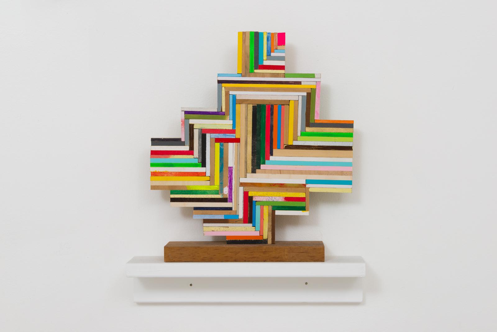 Damien Hoar de Galvan  cross ,2016 wood, paint 12 x 10 x 3 in.