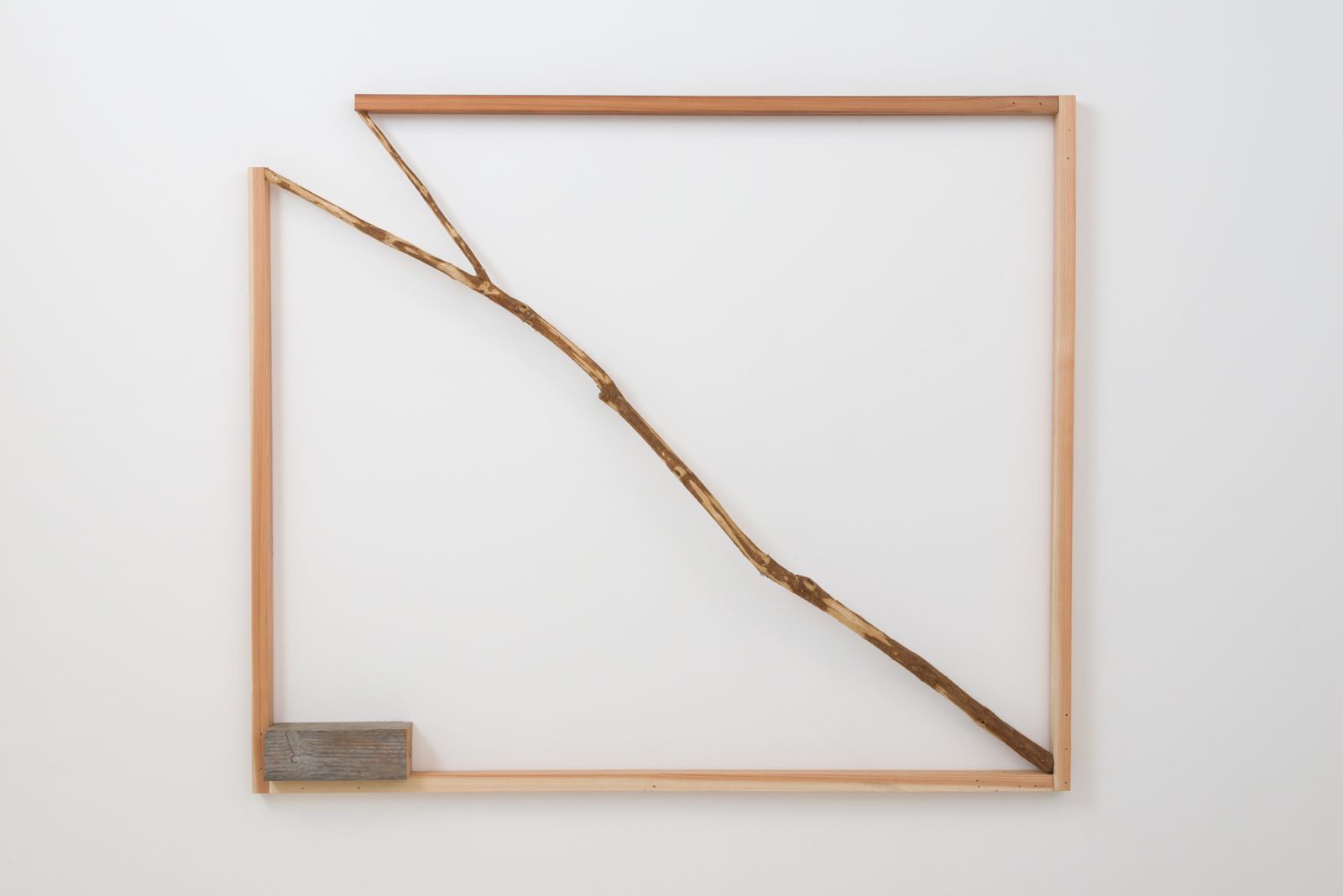 Kishio Suga  Opening Situation , 1990-2016 wood, branch 48 x 57 x 4 ½ in. Courtesy of Blum and Poe