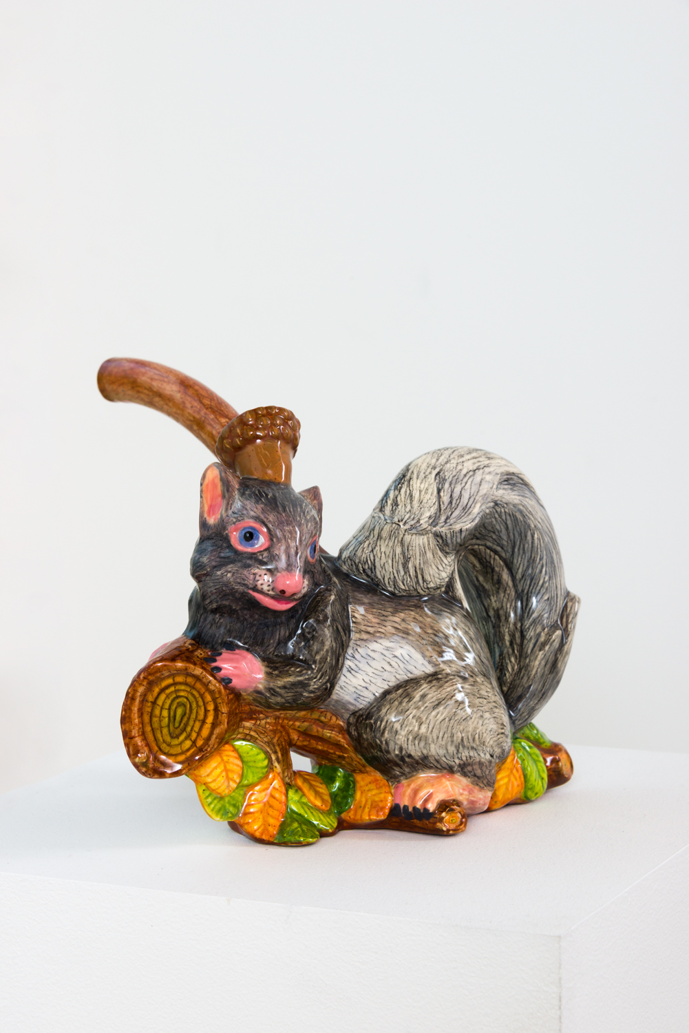 John de Fazio  Grey Squirrel Pipe , 2017 glazed earthenware  7 x 9 x 10 in.