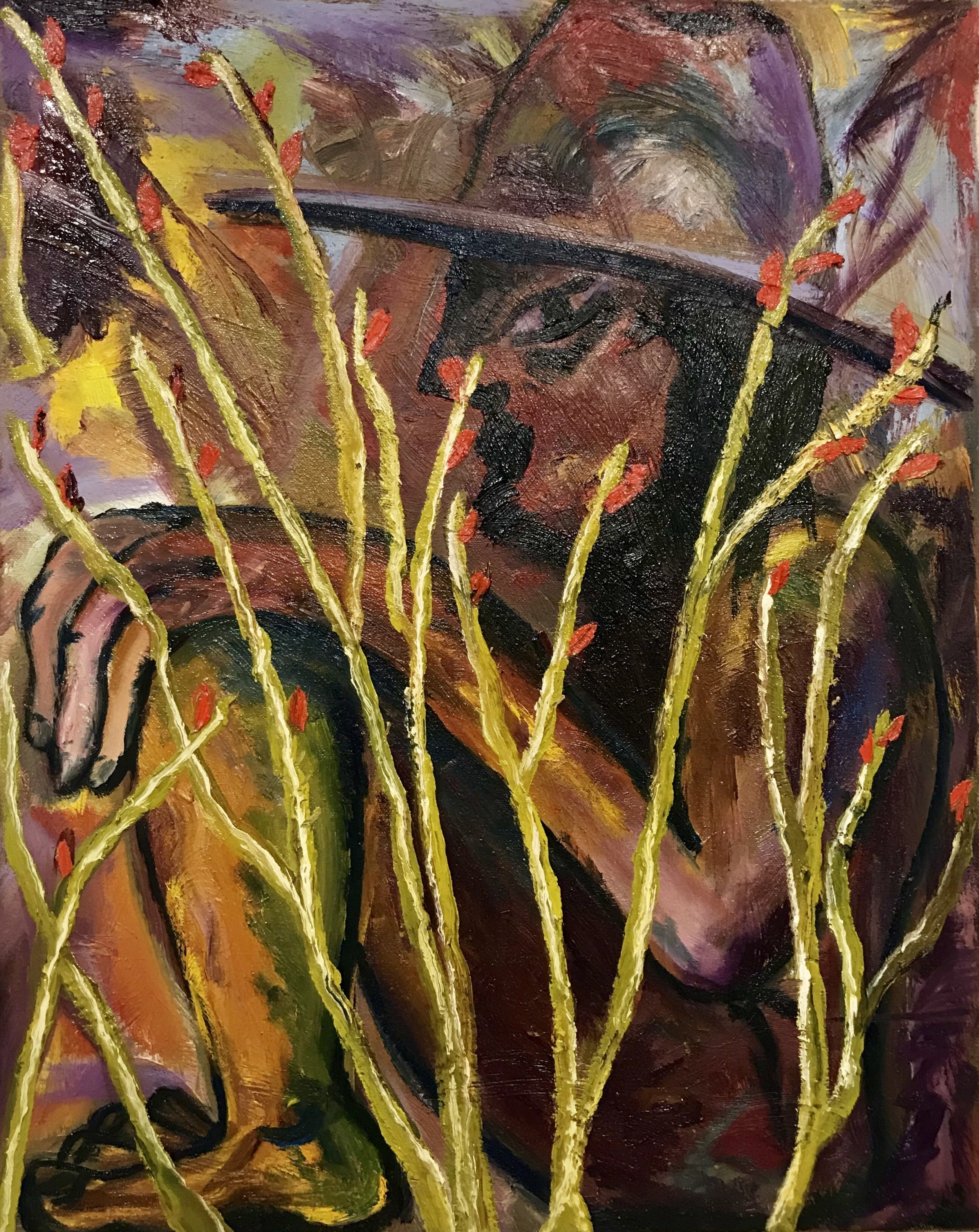 Daniel Gibson  Hiding in Ocotillo ,2017 oil on canvas 18 x 16 in.