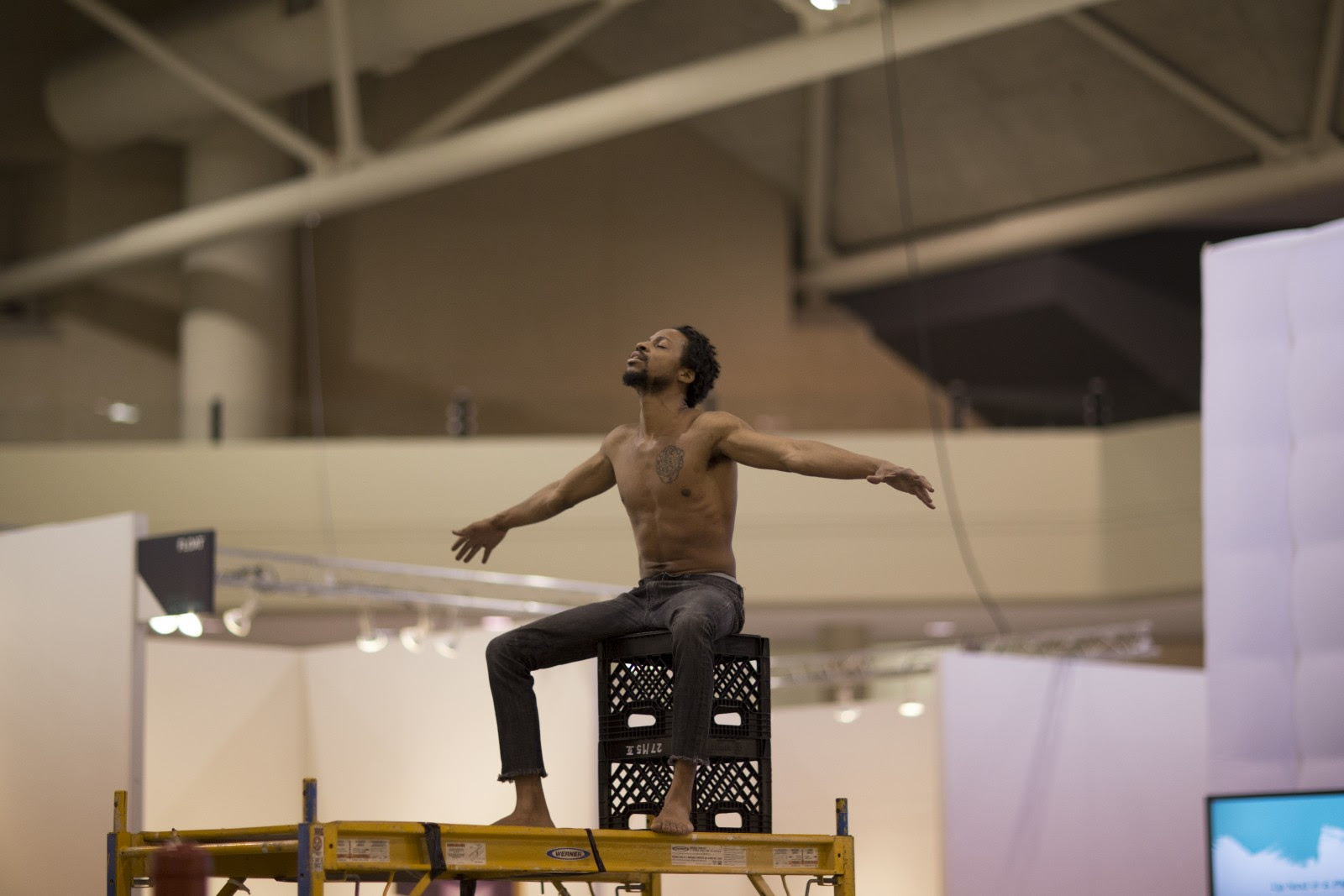 Daniel Gaitor-Lomack performance of  LEGEND OF THE FALL: A Black Man's Cry ,2017 photo by Mike Patten