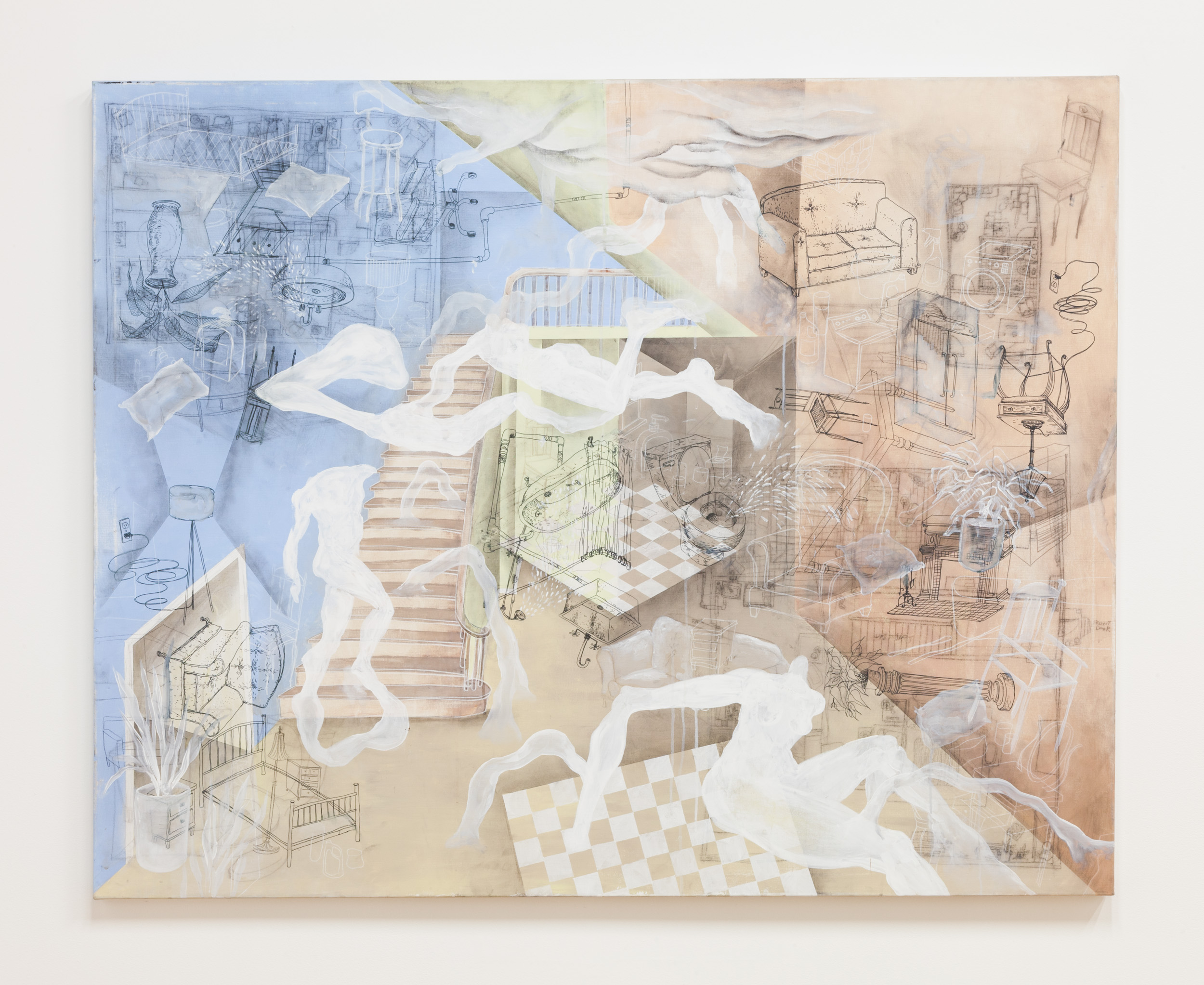 Sarah Wilson  Floorplan ,2017 acrylic, ink, charcoal, watercolor on canvas 60 x 48 in.