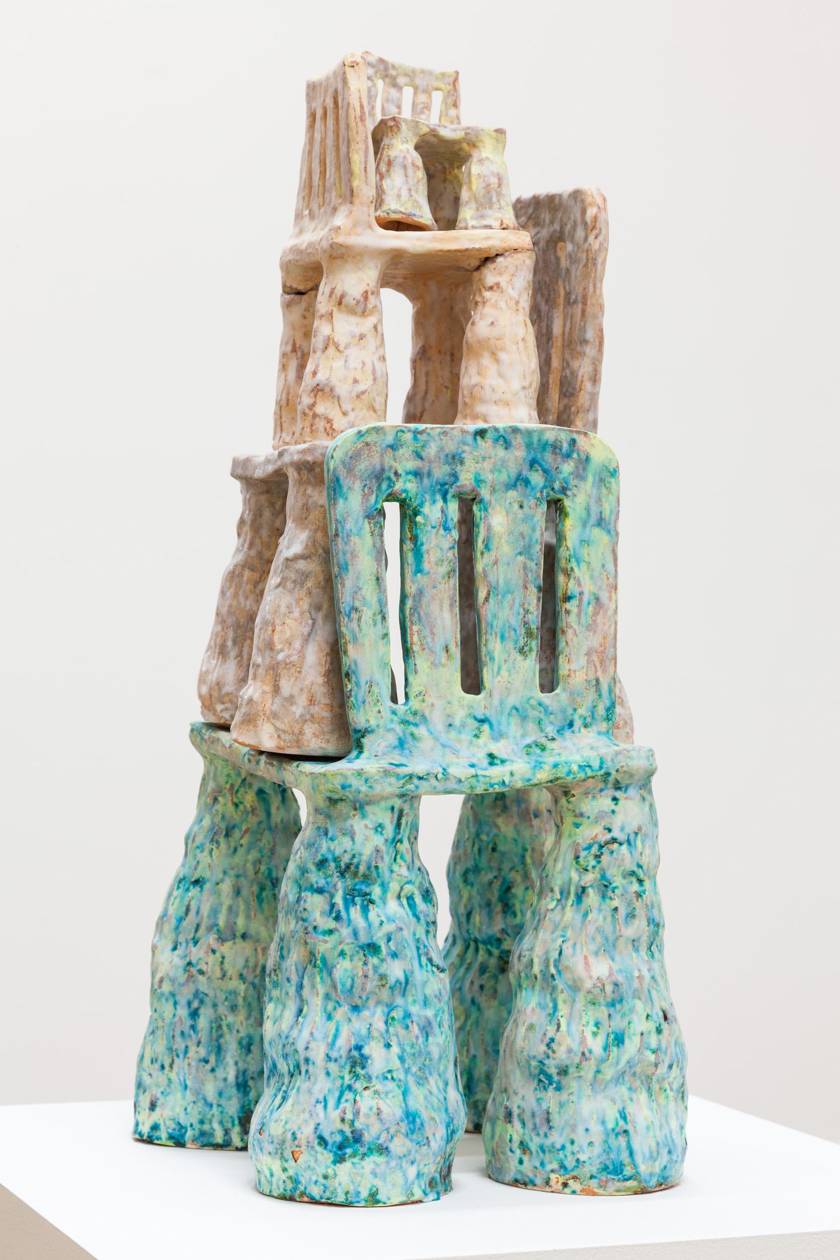Sarah Wilson  Chair Stack ,2017 glazed terra cotta 30 x 14 x 14 in.