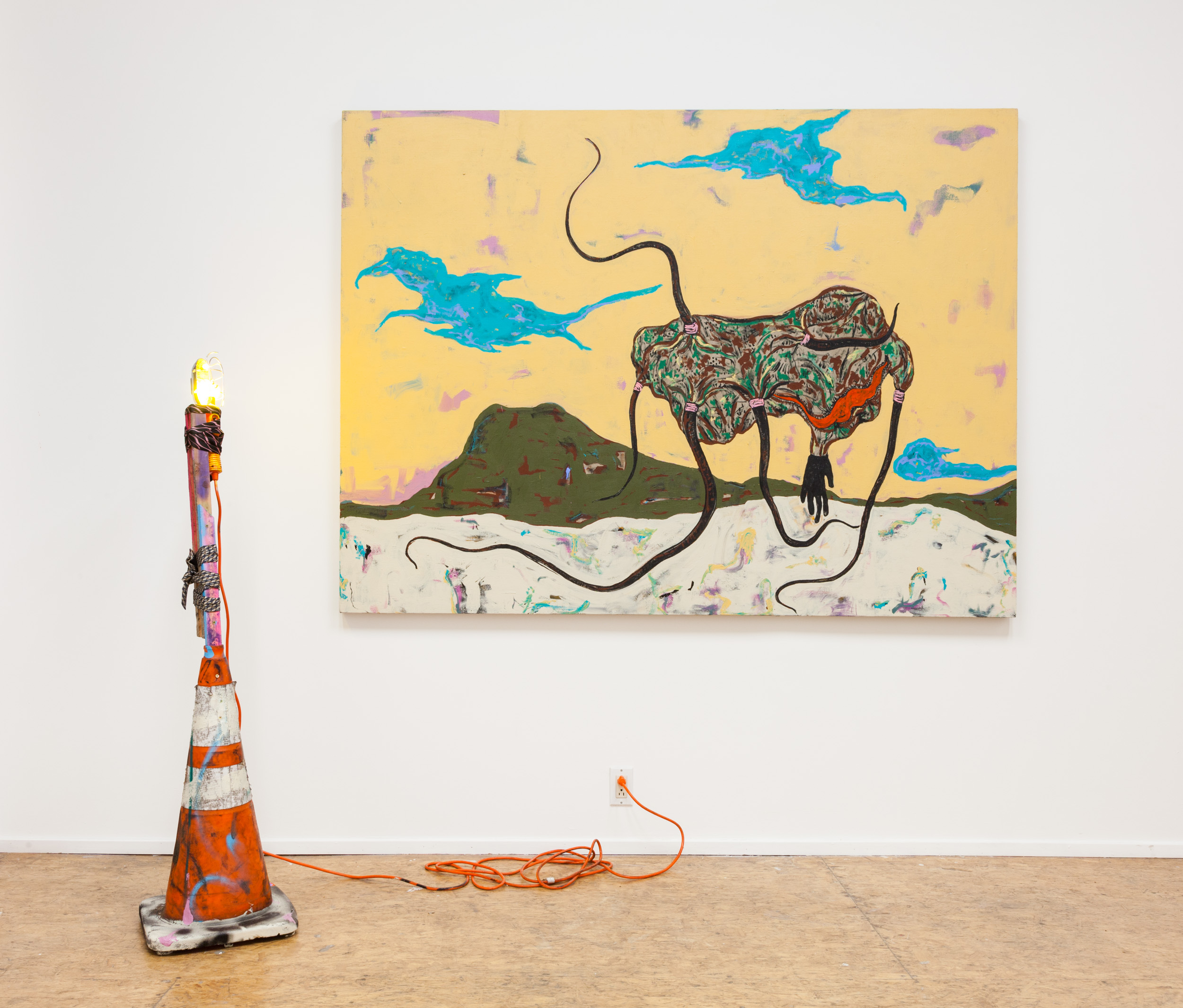 Simphiwe Ndzube  Beast and a Beacon ,2017 acrylic on linen, mixed media 59 x 79 x 1 in. (painting) 58 x 14 x 14 in. (sculpture)