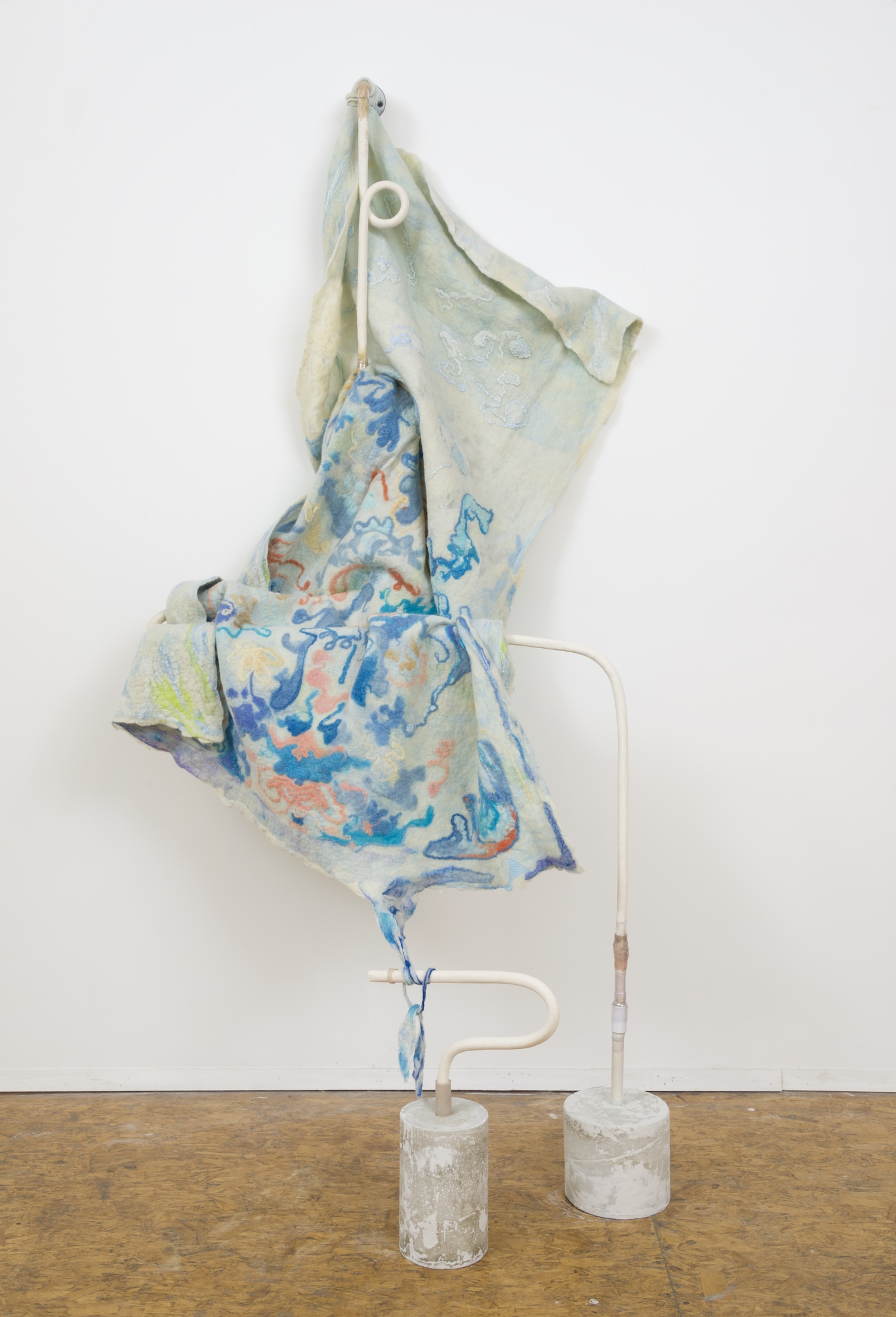 Pauline Shaw  fragment hanging on upright rack , 2016 wool, ceramic, silicone 96 x 36 x 24 in.