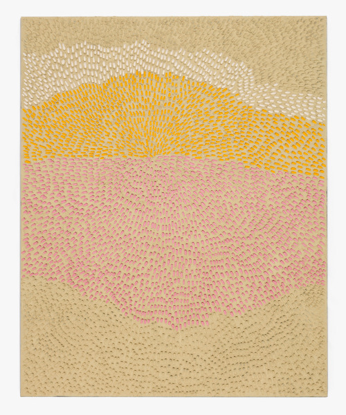Jennifer Guidi  Body Mountain, Mind (Painted White Sand SF #2SF, White Yellow and Pink),  2016 sand, acrylic and oil on linen 92 x 74 in. Image courtesy of the artist