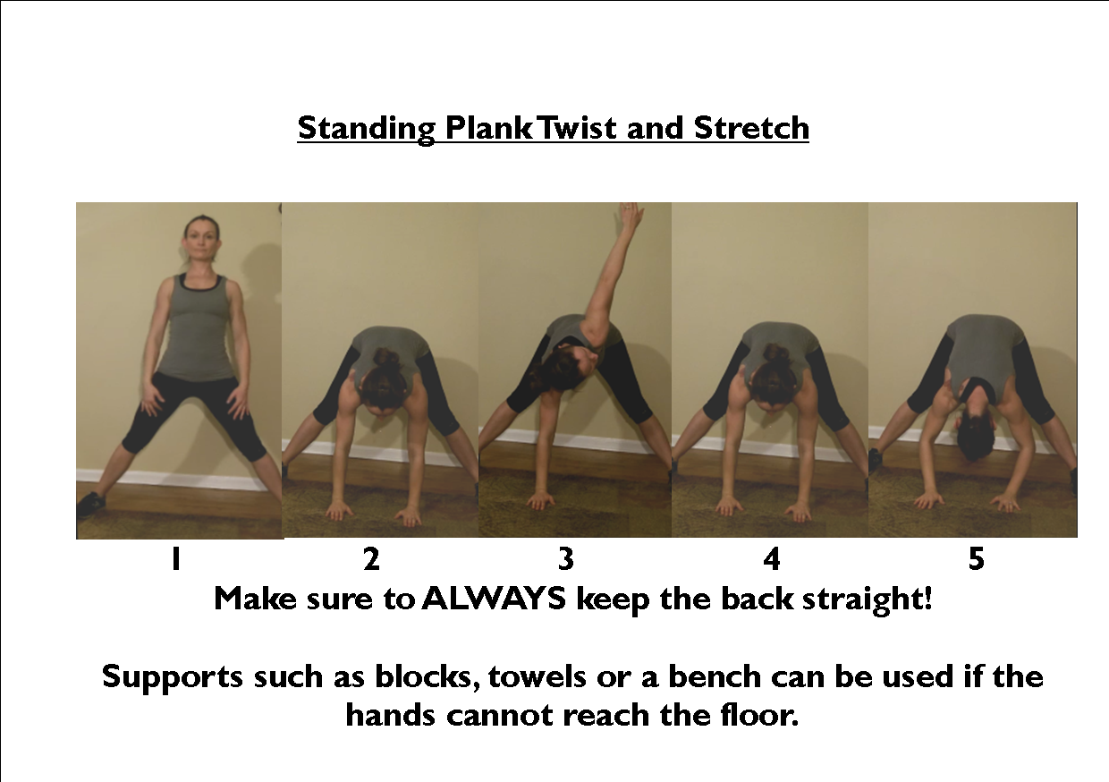 standing plank twist and stretch