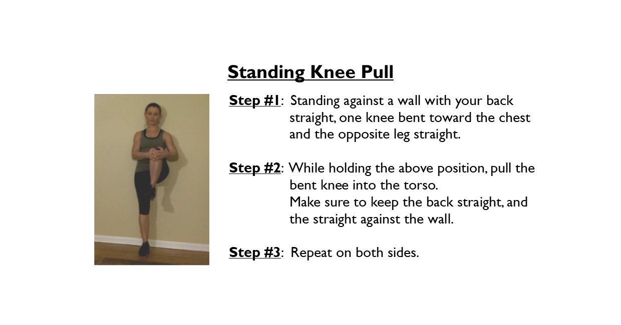 standing knee pulll stretch