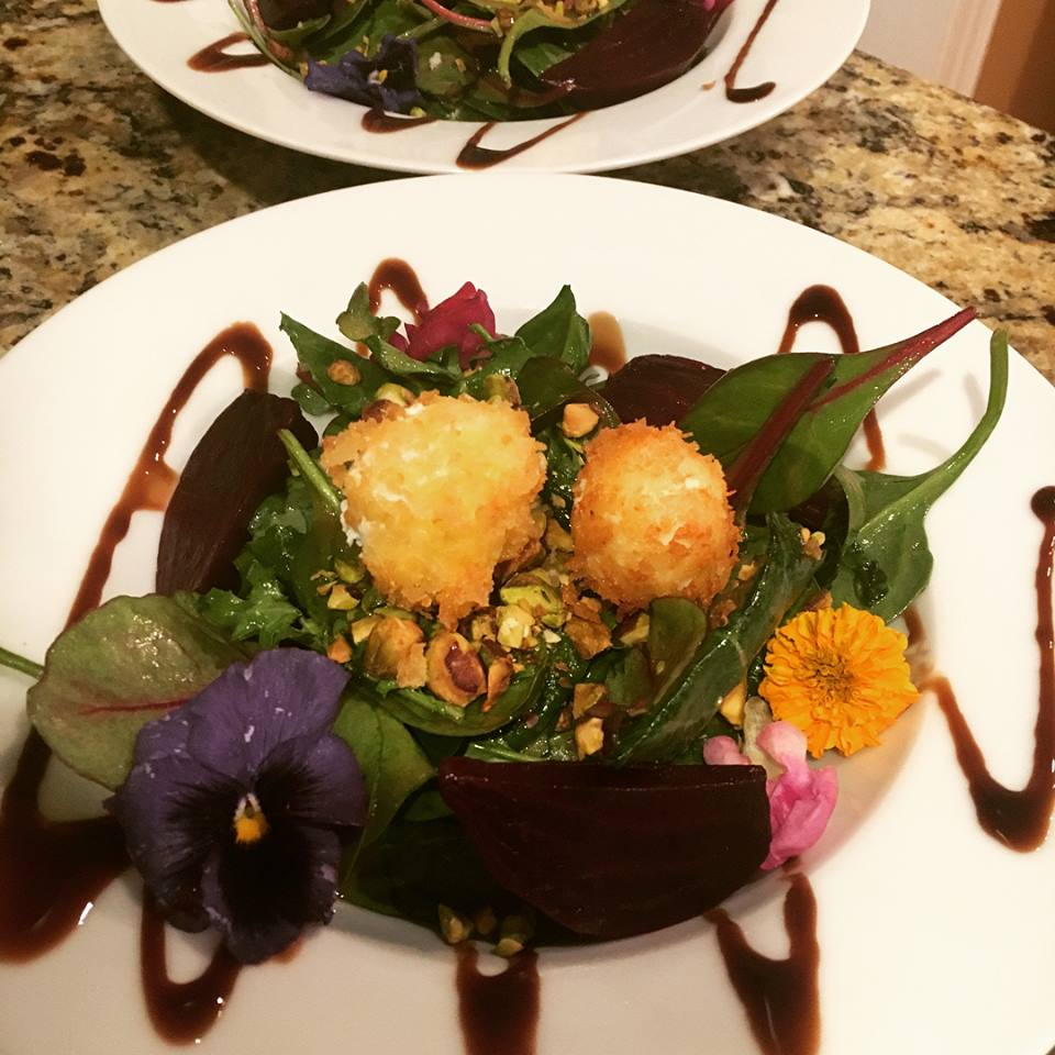 Fried Goat Cheese Salad with Roasted Beets and Pistachios