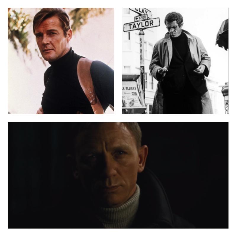 Steve McQueen & 007's penchant for turtlenecks instantly make this garment clutch.