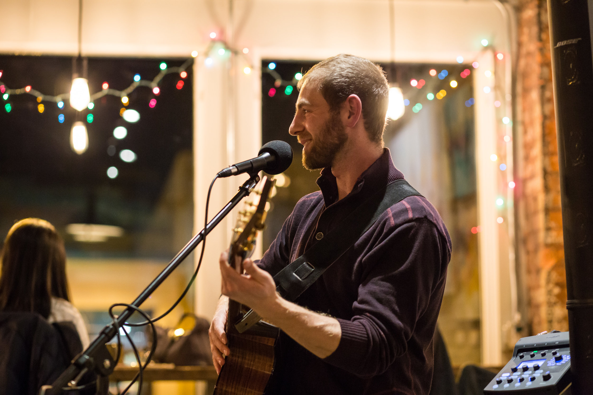Singer/songwriter  Mike Bass  at Blue Owl Coffee. Copyright 2017 Tania Watt Creative, LLC.