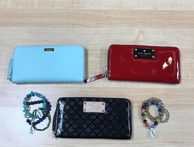 Stop by to pick up one of these BEAUTIFUL Kate Spade wallets!  Blue wallet $49.99, Black & Red $69.99 #urbanrenewalconsign #atl #shoplocal #katespade #fashion #ootd #marietta #consignment #fashionista