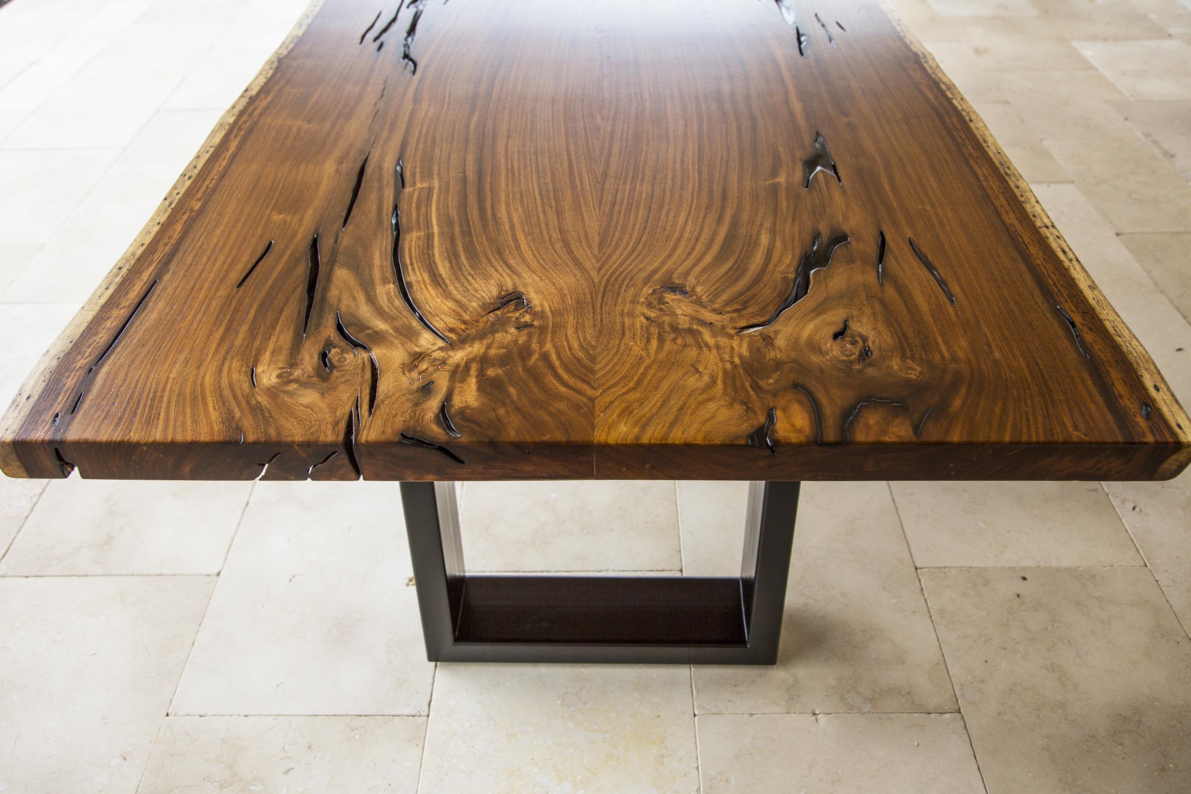 rosewood slab wood table