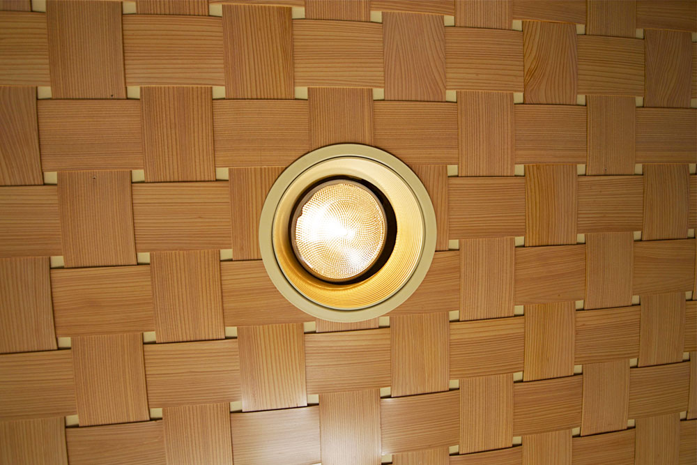 custom woven wood ceiling