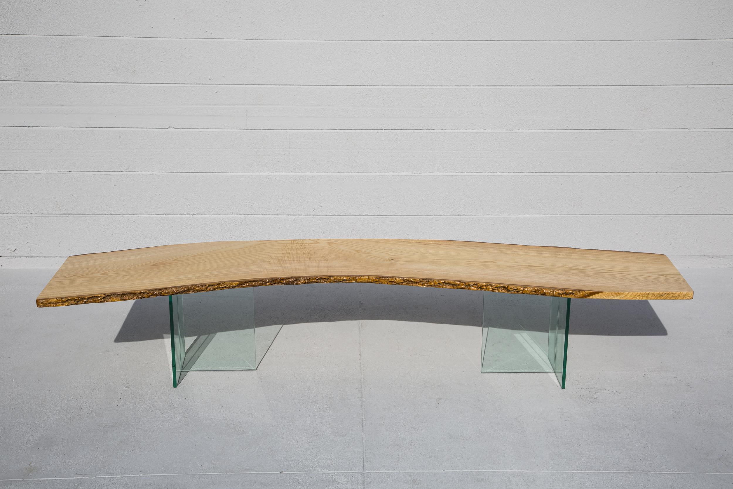 Ash Live Edge Slab Table Bench Wood Street Studio