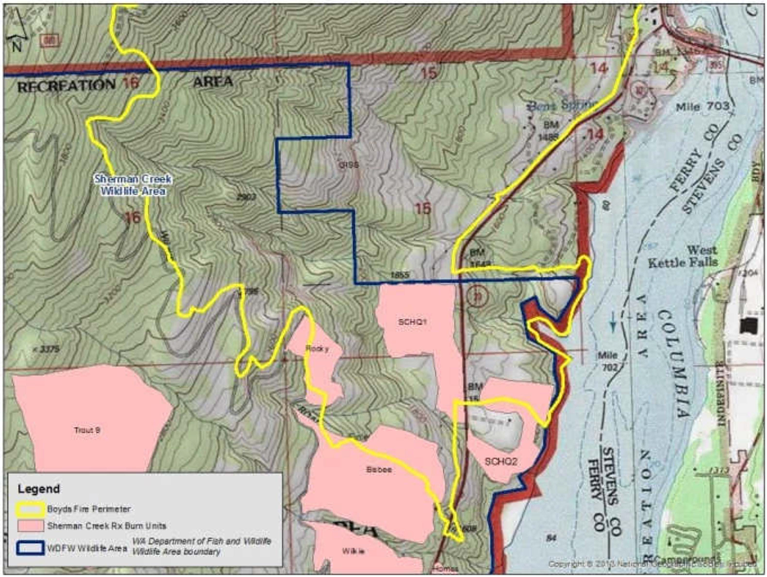 The yellow line in the map above indicates Boyds Fire's footprint, it burned 4,712 acres in total. The pink areas show where the Washington Department of Fish and Wildlife previously treated the forest with prescribed burns. The blue line is the wildlife area boundary. (Washington Department of Fish and Wildlife image)