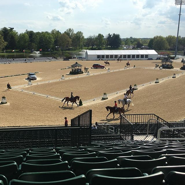 The competitor familiarization at Rolex Stadium at #LRK3DE I was able to spot Phillip Dutton and Z and Dom Schramm and Bolytair B (I think). Ready for tomorrow!