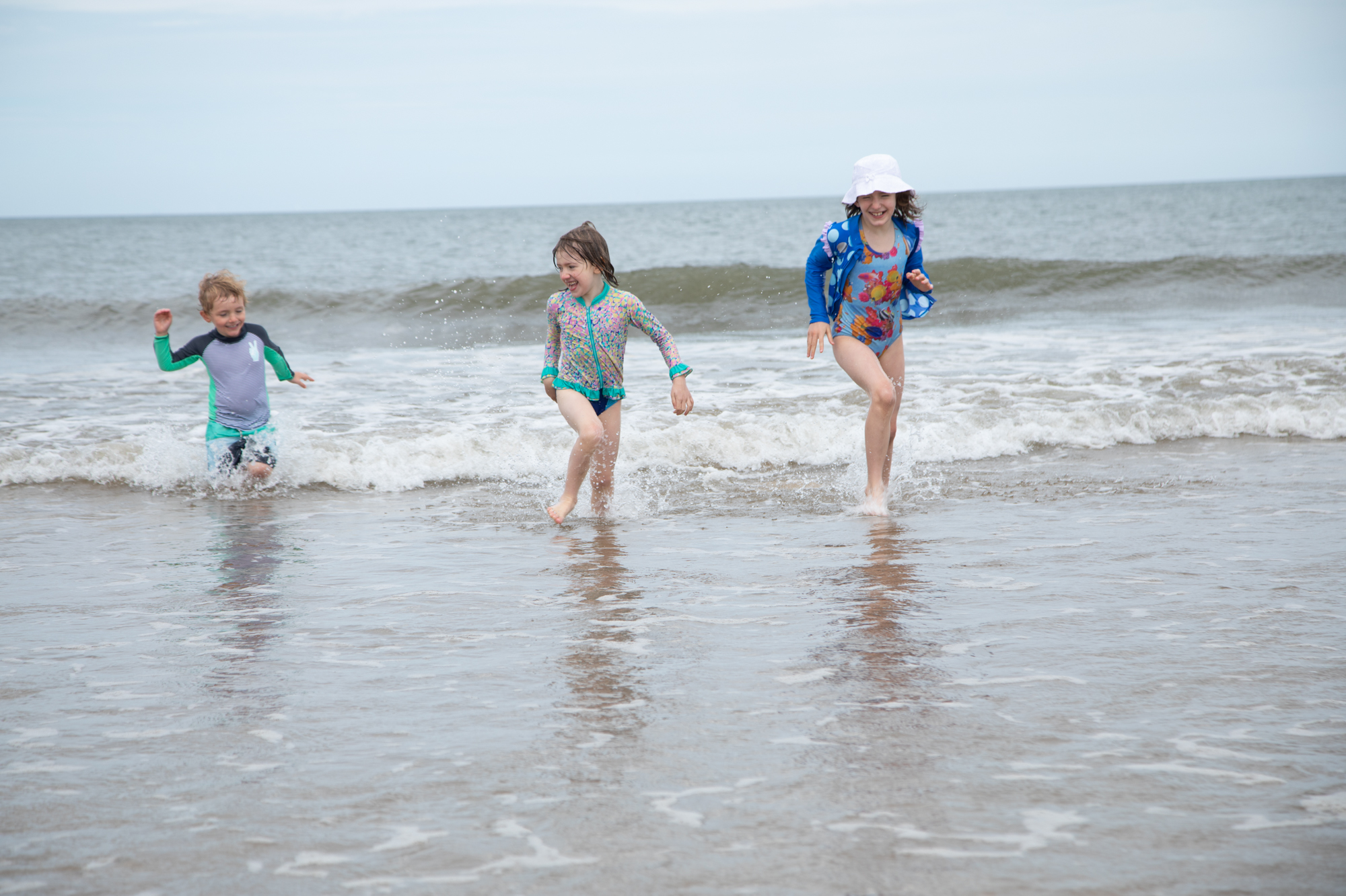Brave kids in the cold North Sea