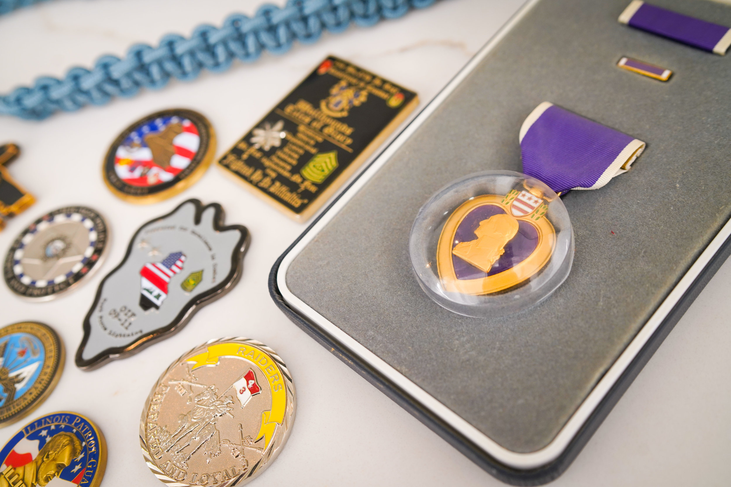 Purple Heart Award, Military Coins, and Infantry Blue Cord