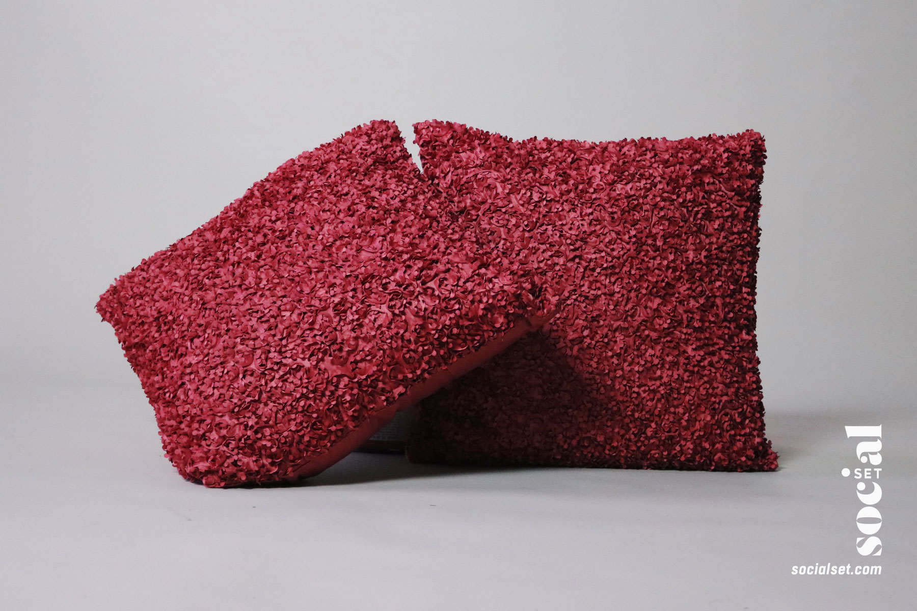 Coral Pink Textured Pillows