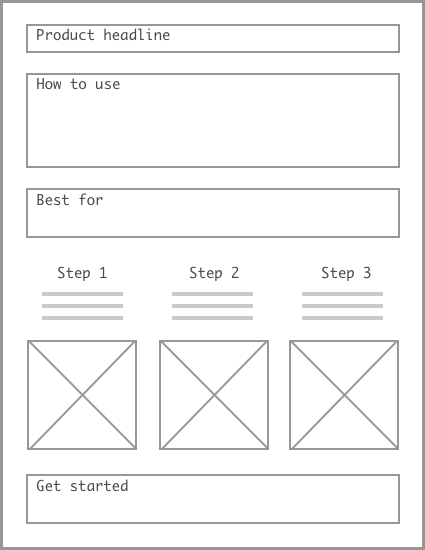 Early wireframe for downloadable guides