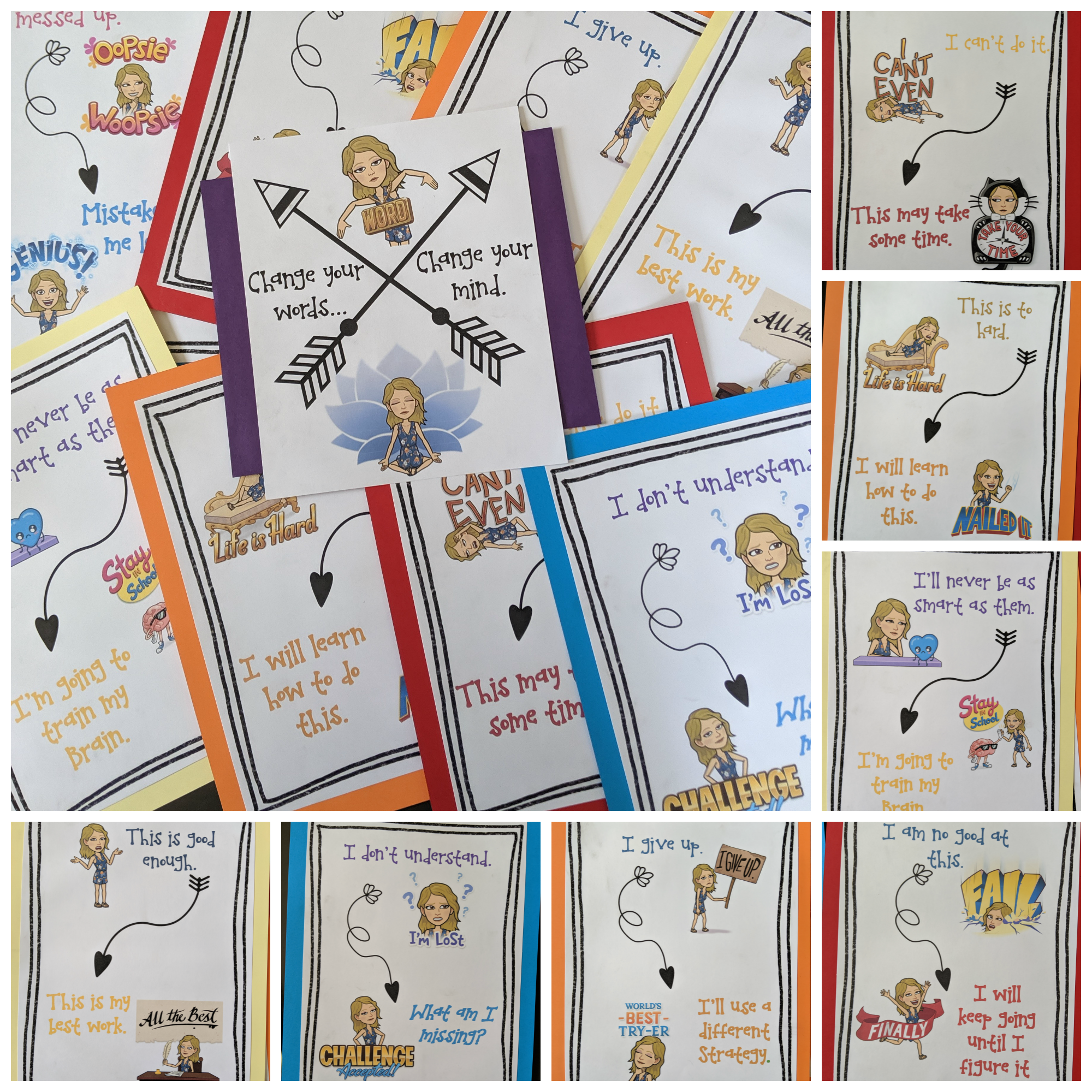 Personalized Growth Mindset Posters - I can't wait to get these into my classroom. I am hoping I will have some space to post theses on cabinet doors. I am sure the perfect spot will hit me as soon as I get into my room!