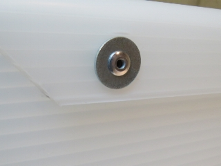 Pop rivets with fender washers, outside view