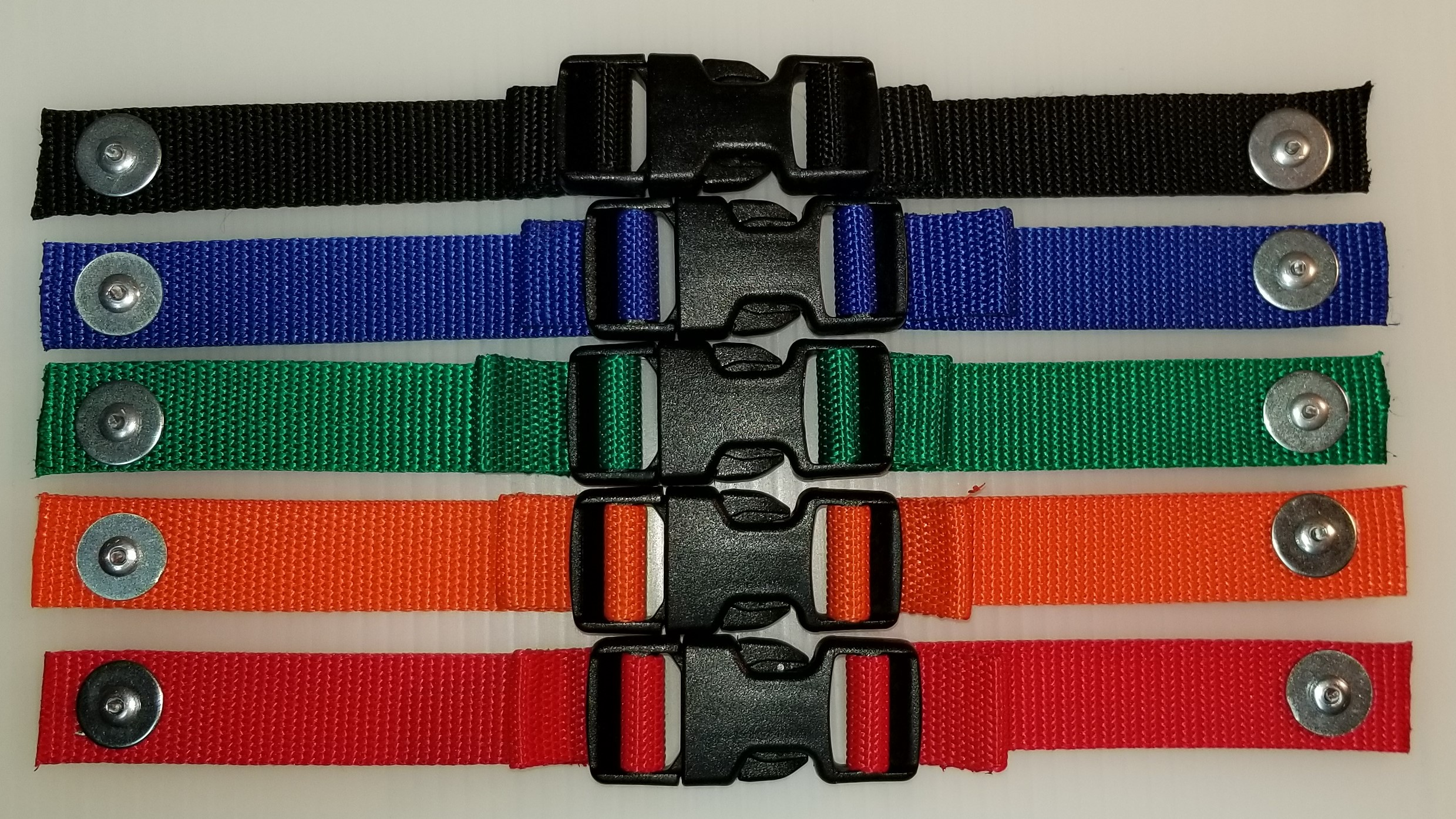 The New Webbing Color Choices are  Black, Blue, Green, Orange and Red