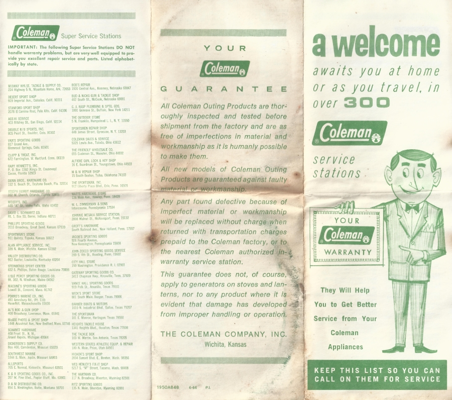 Coleman 502 Guarantee and List of Service stations