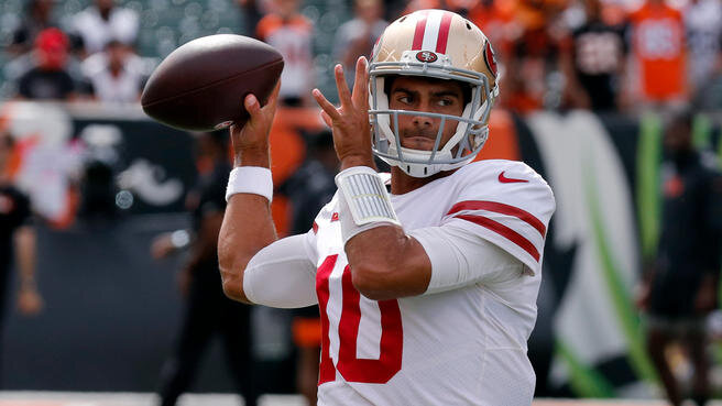 Jimmy Garoppolo was great last week. threw for nearly 300 yards and 3 touchdowns in their blow out win over the Bengals. Now he gets the win-less Steelers, that game has a 43 point O/U and i'm taking the over. The Steelers defense has allowed a passer rating of 109.1 on 1st down since last season, which is the highest in the NFL. They just allowed Russel Wilson to pick them apart for 300 yards and 3 touchdowns last week and the 49ers could see some extra possessions if Mason Rudolph struggles early. Look for Garoppolo to continue his success this week.
