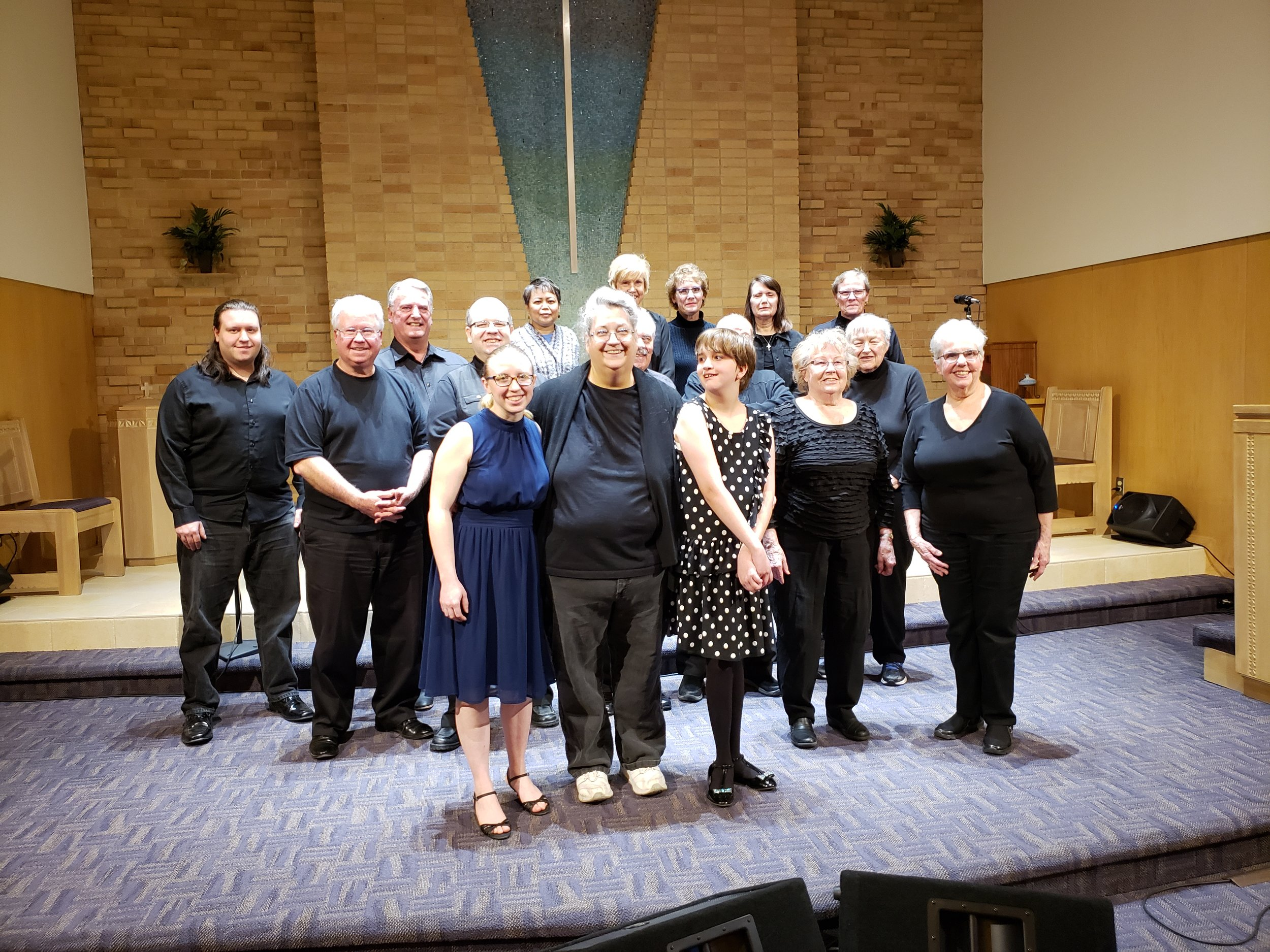 Trinity's Celebration Singers from left to right:  Back Row: Mikey, Lou, Lisa, Naomi, Lori, Jan, and Mindy Middle Row: Mike, Chris, Jim, Don, and Judy Front Row: Emily, Kathryn, and Michaela