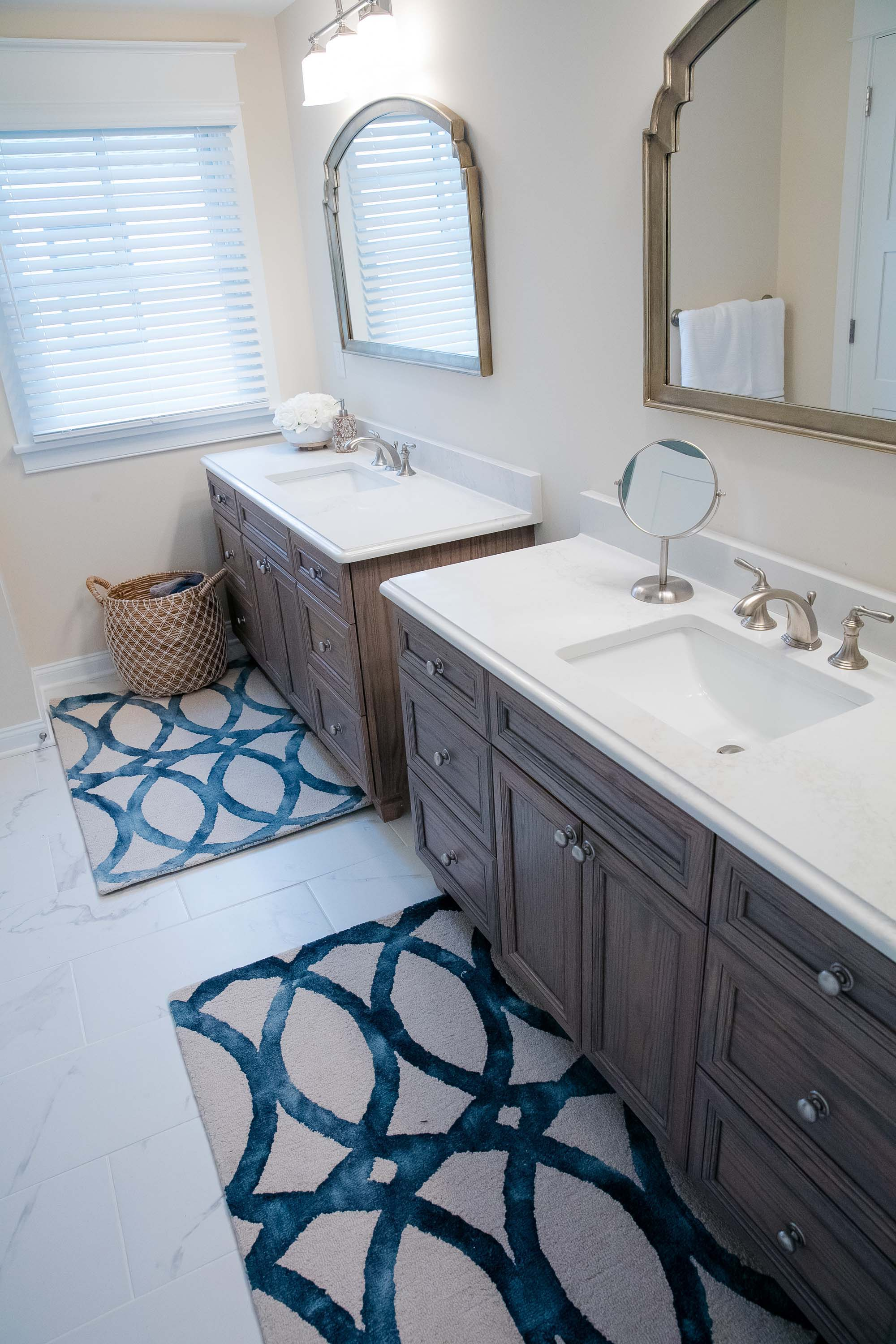Bright bathroom with his and her sinks