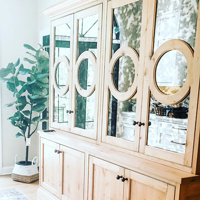 Sneak peek!  Full reveal coming soon of this gorgeous first floor renovation. ❤️ this custom piece with antique mirrors, reflects light and opens space. - - - Design by @kelleypriceinteriors and @Sweetbriar cabinetry