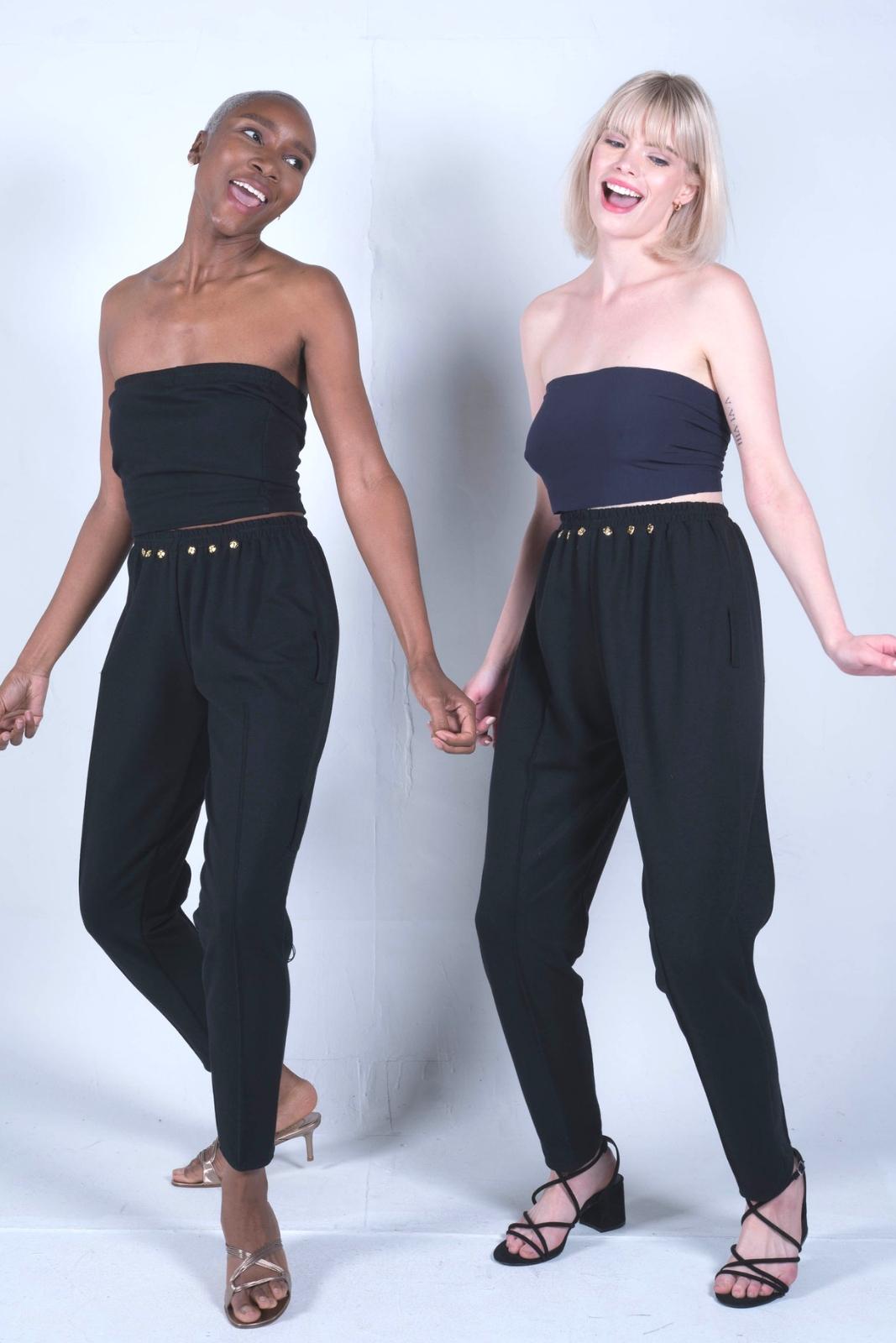 black knit pants outfit