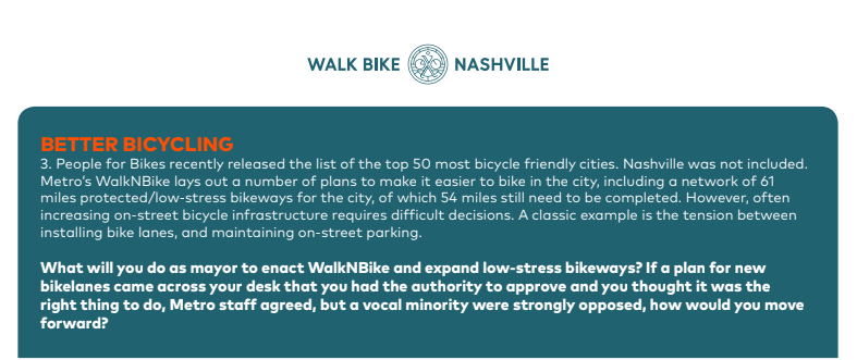 JON SEWELL Whew, this reads like a loaded question so Ill try to wade thru it carefully. Expanding the bikelanes is a must. In high-density areas closer to the core unfortunately a lot of those bikelanes will be in close proximity to roadways based on current ROW and easements- Can we look outside that parallelism? I am currently in a design project where I am advocating for a more terrain-friendly sidewalk and accompanying bikelane that still operates in the ROW but does not necessarily follow the road.