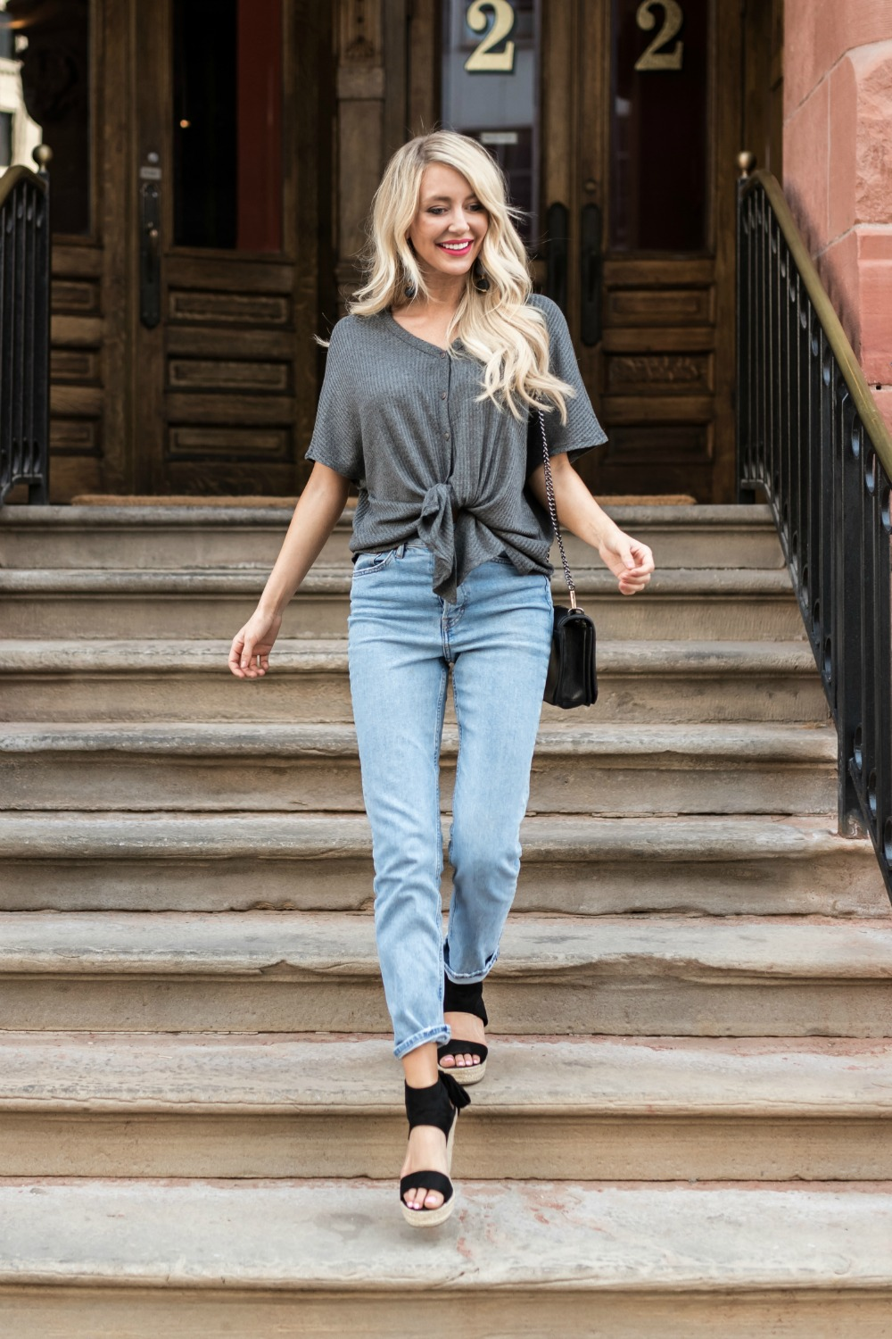 For The Love Of Tie Front Top in Grey