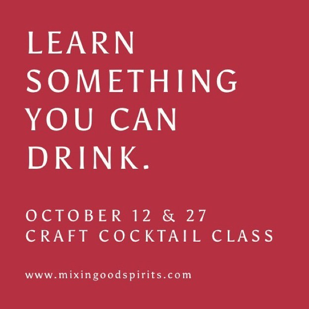 We are so excited to announce our next two @mixingoodspirits popup cocktail classes this month! We are in partnership with our dear friends at @keycityspirits and will be at @whitespacestudios on Oct 12 & 25. Sign up to learn the basics of bartending, enjoy local spirits, and meet new people. Purchase tickets at our website in the bio!