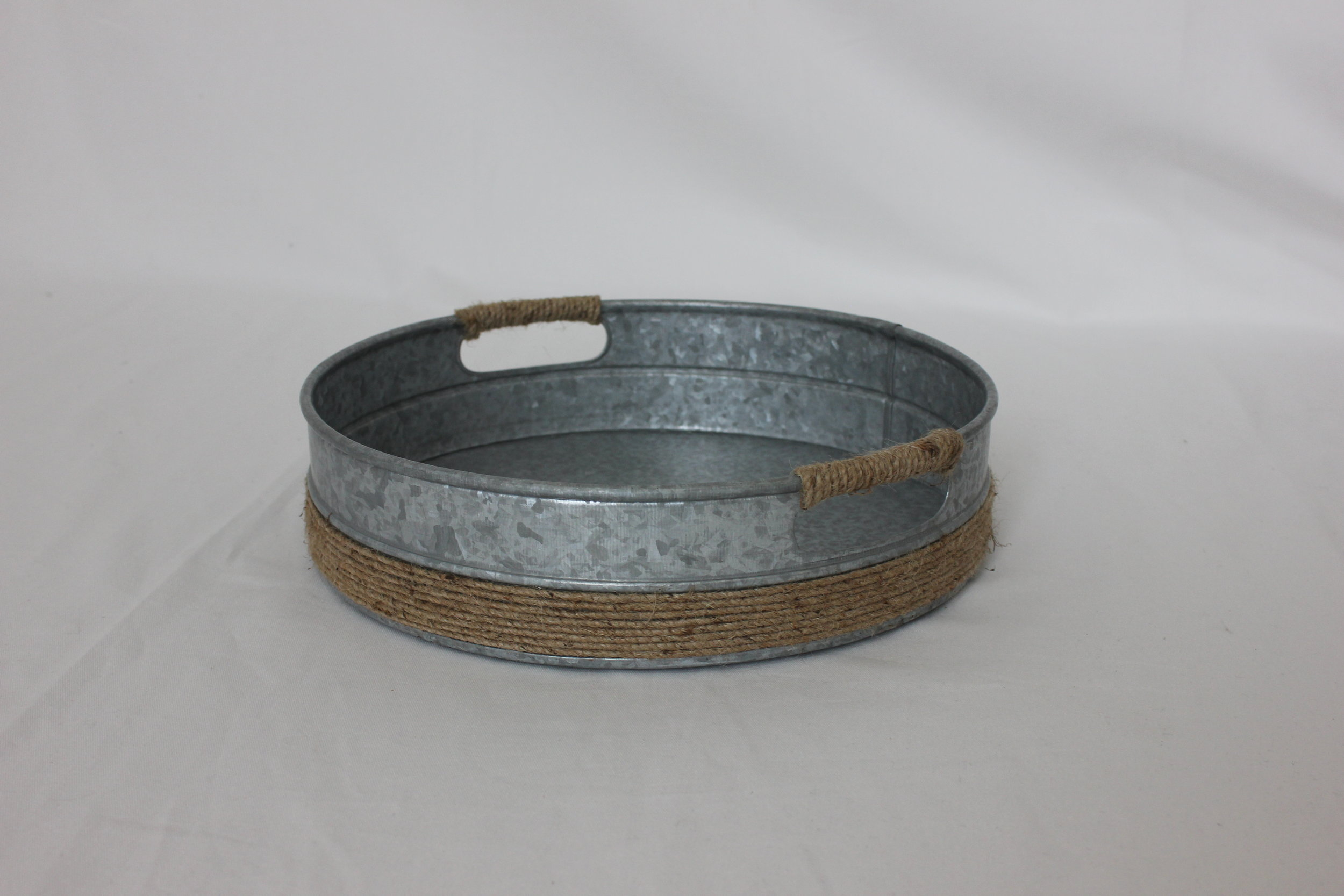 1 Galvanized Small Round Tray $5.00